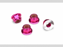 Traxxas 1747P NUTS, 4MM FLANGED NYLON LOCKING PINK