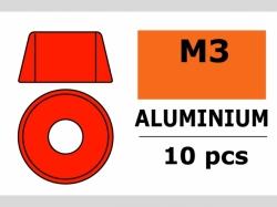 Unterlegscheibe M3 Zylind. Rot 10x
