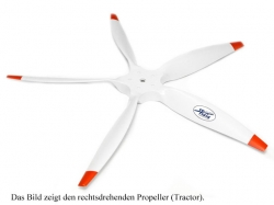Fiala 5-Blatt 25x10 Elektro E3 Holzpropeller - weiss Pushe..
