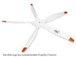 Fiala 5-Blatt 28x8 Elektro E3 Holzpropeller - weiss Pusher..