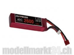 AGA-Power LiPo-Akku 2600mAh 7,4V 40C 2S1P