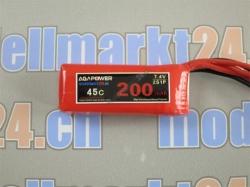 AGA-Power LiPo-Akku 200mAh 7,4V 45C 2S1P