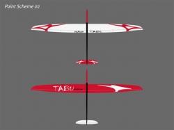 RCRCM Tabu Spw. 2.976m CFK+ (Carbon) Weiss/Rot mit Schutzt..