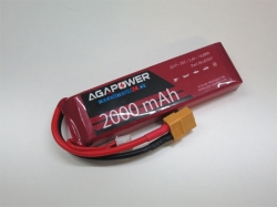 Empfängerakku 2000mAh 7,4V 45C 2S1P LiPo AGA-Power, Spezia..