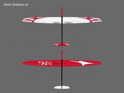 RCRCM Tabu V-Tail Spw. 2.976m CFK+ (Carbon) Weiss/Rot mit ..