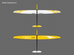 RCRCM Tabu V-Tail Spw. 2.976m CFK+ (Carbon) Gelb/Schwarz m..