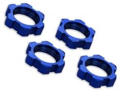 Traxxas 7758 Radmuttern verzahnt 17mm blau-eloxiert 4Stk.