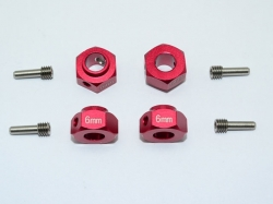 ALUMINUM HEX ADAPTERS 6MM THICK Rot for Traxxas TRX-4 DEFE..