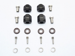 ALUMINUM HEX ADAPTERS 9MM & 12MM THICK Schwarz for Traxxas..