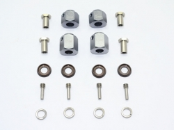 ALUMINUM HEX ADAPTERS 9MM & 12MM THICK Silbergrau for Trax..