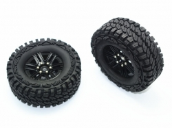 ALUMINUM 6 POLES WHEELS + CRAWLER TIRES Schwarz for Traxxa..