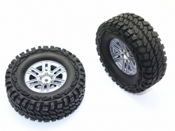 ALUMINUM 6 POLES WHEELS + CRAWLER TIRES Silbergrau for Tra..