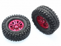 ALUMINUM 6 POLES WHEELS + CRAWLER TIRES Rot for Traxxas TR..