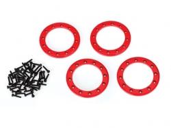 Traxxas 8169R Beadlock-Ringe, Rot, 1,9Zoll Aluminium 4Stk...