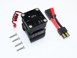 ALUMINUM 35MM MOTOR HEATSINK WITH COOLING FAN Schwarz- 9PC..