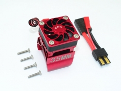 ALUMINUM 35MM MOTOR HEATSINK WITH COOLING FAN Rot - 9PC SET