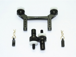 ALUMINUM FRONT & REAR MAGNETIC BODY MOUNT Schwarz -5PC SET