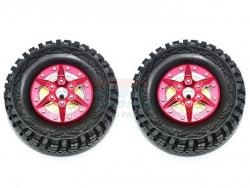 """1.9"""" ALUMINUM 6 POLES WHEELS WITH BRASS PENDULUM WEIGHT + CRAWLER TIRE Rot for T"""