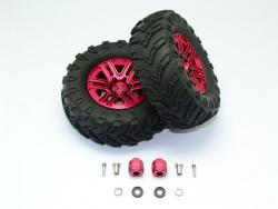 "1.9"" ALUMINUM 6 SPOKES BBS RIMS WITH ONROAD TIRES AND 12MM THICK ALLOY HEX Rot for Traxxas TRX-4 DEFENDER, von GPM-Racing"