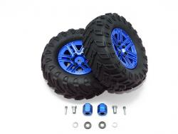 "1.9"" ALUMINUM 6 SPOKES BBS RIMS WITH ONROAD TIRES AND 12MM THICK ALLOY HEX Blau for Traxxas TRX-4 DEFENDER, von GPM-Racing"