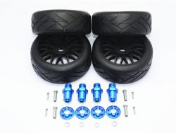 ALUMINUM 17X19 HEX+ON-ROAD RUBBER RADIAL TIRES W/ PLASTIC WHEELS Blau for Traxxa