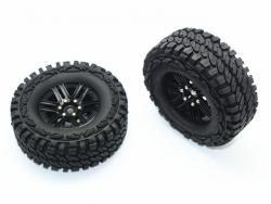 ALUMINUM 6 POLES WHEELS + CRAWLER TIRES Schwarz for Traxxas TRX-4 DEFENDER, von