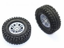 ALUMINUM 6 POLES WHEELS + CRAWLER TIRES Silbergrau for Traxxas TRX-4 DEFENDER, v