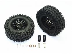 ALUMINUM 6 POLE WHEELS & CRAWLER TIRE + 23MM HEX ADAPTER Schwarz for Traxxas TRX