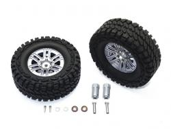 ALUMINUM 6 POLE WHEELS & CRAWLER TIRE + 23MM HEX ADAPTER Silbergrau for Traxxas TRX-4 DEFENDER, von GPM-Racing
