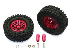 ALUMINUM 6 POLE WHEELS & CRAWLER TIRE + 23MM HEX ADAPTER Rot for Traxxas TRX-4 D