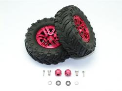 """1.9"""" ALUMINUM 6 SPOKES BBS RIMS WITH ONROAD TIRES AND 9MM THICK ALLOY HEX Red fo"""