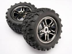Traxxas 4983A Räder und Reifen, montiert, geklebtEdelstahl, schwarzes Chromrad,