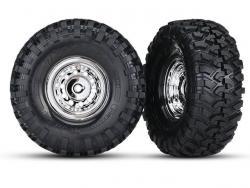 Traxxas 8177 Räder und Reifen, montiert, geklebt (1.9 Zoll Chromräder)