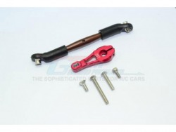 ALUMINUM SERVO HORN WITH SPRING STEEL STEERING LINK Rot -6PC SET